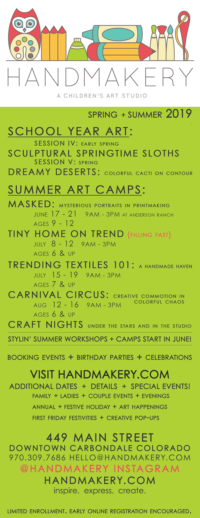 HANDMAKERY WORKSHOP BROCHURE SPRING + SUMMER 2019!
